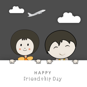 Happy Friendship Day Concept With Cute Kding Banner Of Happy Friendship Day.