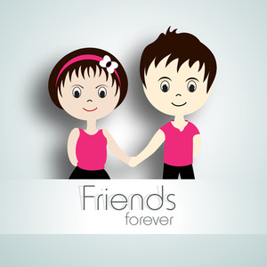 Happy Friendship Day Concept With Cute Kids Holding Hands On Abstract Background.