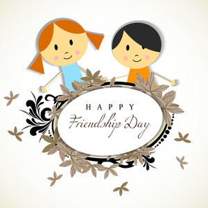 Happy Friendship Day Concept With Cute Kids On Floral Decorated Background.