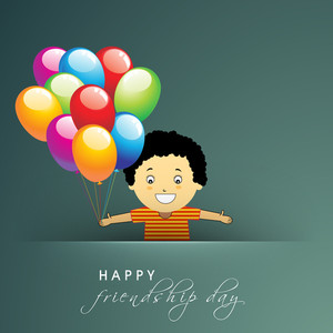 Happy Friendship Day Concept With Cute Little Boy Holding Glossy Colorful Balloons On Green Background.