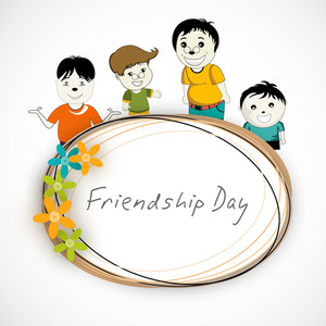 Happy Friendship Day Concept With Cute Little Boys On Floral Decorated Frame On Grey Background.