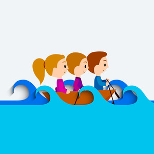 Happy Friendship Day Concept With Cute Little Kids On Wave Background.