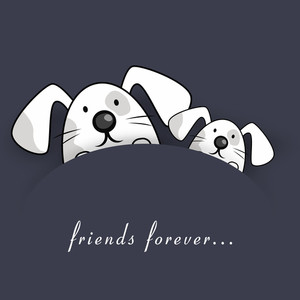 Happy Friendship Day Concept With Cute Rabbits On Grey Background.