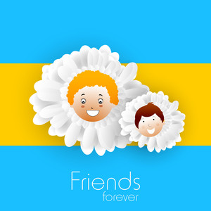 Happy Friendship Day Concept With Flowers On  Yellow Background.