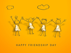 Happy Friendship Day Concept With Four Little Girls On Yellow Background