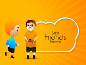 Happy Friendship Day Concept With Friends And Text Best Friends Forever On Shiny Orange Background