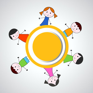Happy Friendship Day Concept With Friends Circle On Grey Background.