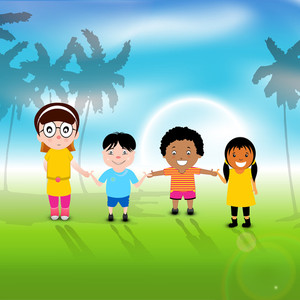 Happy Friendship Day Concept With Friends Joining Hands On Nature Background.