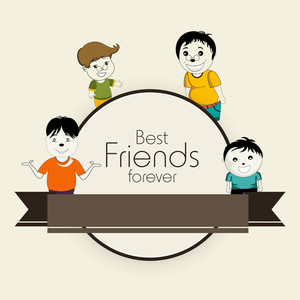 Happy Friendship Day Concept With Friends On Abstract Background.
