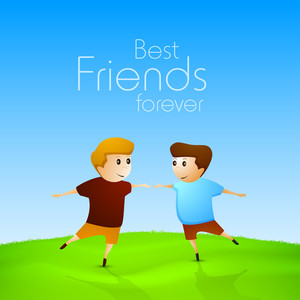 Happy Friendship Day Concept With Friends Playing On Nature Background.