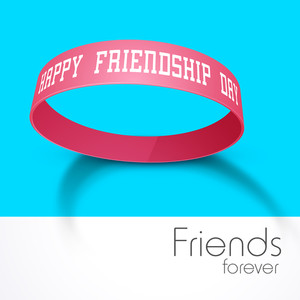 Happy Friendship Day Concept With Friendship Band On Blue And Grey Background.