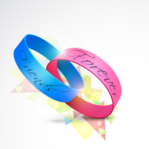 Happy Friendship Day Concept With Friendship Band On Colorful Grey Background.