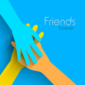 Happy Friendship Day Concept With Human Hands Shaking On Blue Background.