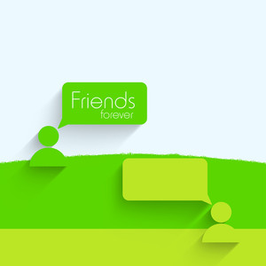 Happy Friendship Day Concept With Icons And Speech Bubble On Blue And Green Background.