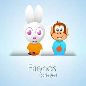 Happy Friendship Day Concept With Monkey And Rabbit On Blue Background.