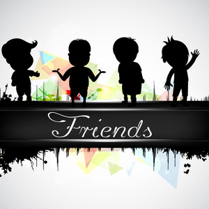 Happy Friendship Day Concept With  Of Cute Kids On Abstract  Background.