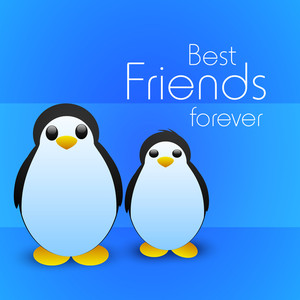 Happy Friendship Day Concept With Penguine Couple On Blue Background.