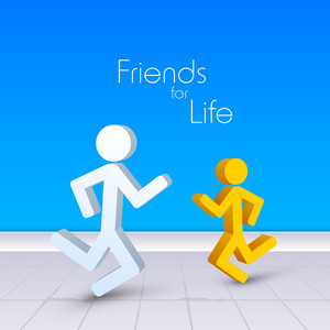 Happy Friendship Day Concept With Peoples On Blue Background.