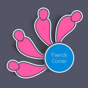 Happy Friendship Day Concept With Pink Silhouette Of Friends On Grey Background.