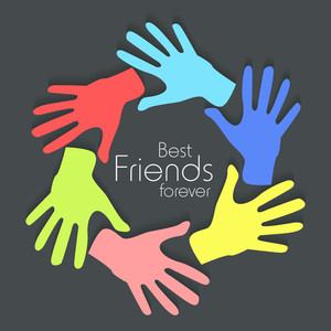 Happy Friendship Day Concept With Print Of Colorful Hands On Grey Background