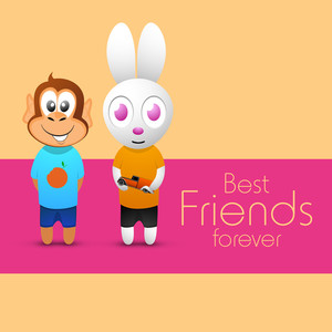 Happy Friendship Day Concept With Rabbit And Monkey On Abstract Background.