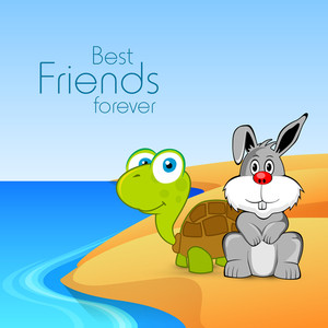 Happy Friendship Day Concept With Rabbit And Tortoise At Lake Side.