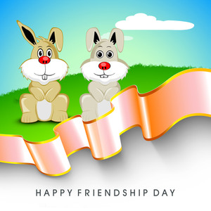 Happy Friendship Day Concept With Rabbits On Background.