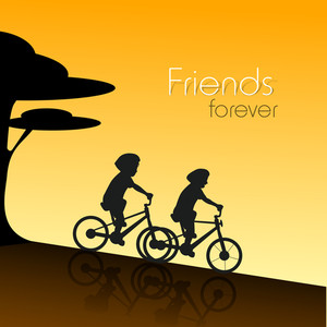 Happy Friendship Day Concept With Silhouette Of Boys Cycling On Brown Background.
