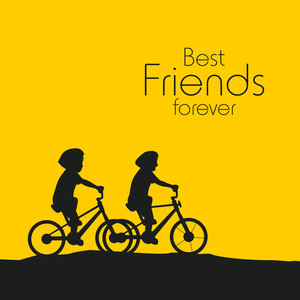 Happy Friendship Day Concept With Silhouette Of Boys Cycling On Yellow And Black Background.