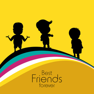 Happy Friendship Day Concept With Silhouette Of Boys On Yellow Background.