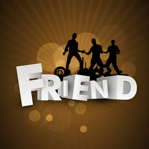 Happy Friendship Day Concept With Silhouette Of Friend And Stylish Text On Brown Background.