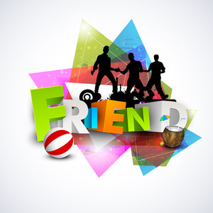 Happy Friendship Day Concept With Silhouette Of Friends On Colorful Abstract Background.