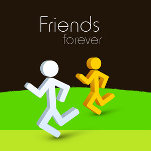 Happy Friendship Day Concept With Silhouette Of Friends On Nature Background.