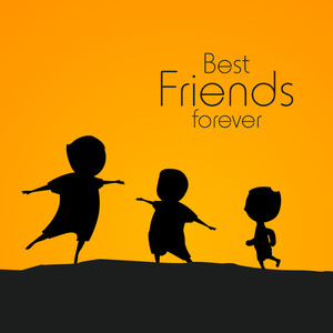 Happy Friendship Day Concept With Silhouette Of Happy Kids On Orange Background.