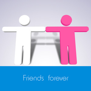 Happy Friendship Day Concept With Silhouette Of Peoples On Grey And Blue Background.