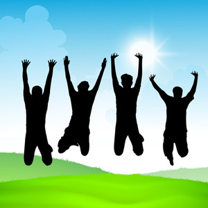 Happy Friendship Day Concept With Silhouette Oh Young Boys Jumping On Nature Background