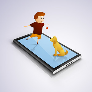 Happy Friendship Day Concept With Smart Phone And Cute Boy And Dog.