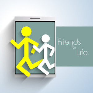 Happy Friendship Day Concept With Smart Phone And Running Persons.