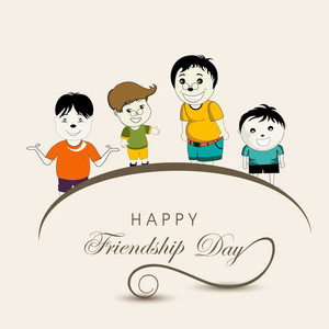 Happy Friendship Day Concept With Smily Kids On Abstract Background.