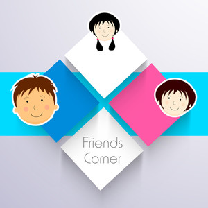 Happy Friendship Day Concept With Stylish Stickers