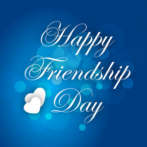 Happy Friendship Day Concept With Stylish Text On Blue Background.