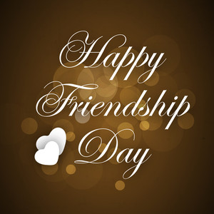 Happy Friendship Day Concept With Stylish Text On Brown Background.