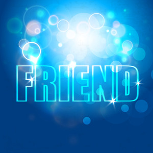 Happy Friendship Day Concept With Stylish Text On Shiny Blue Background.
