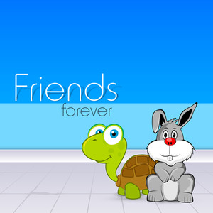 Happy Friendship Day Concept With Tortoise And Rabbit On Blue Background.