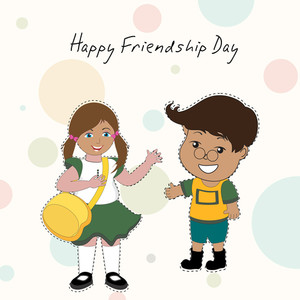 Happy Friendship Day Concept With Two Cute Friends