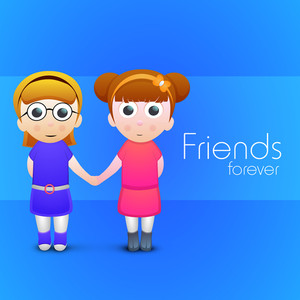 Happy Friendship Day Concept With Two Cute Girls Holding Each Other Hands On Blue Background.