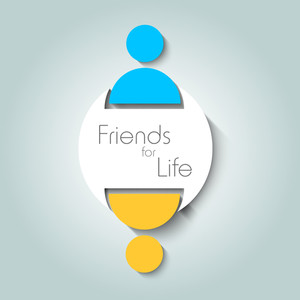 Happy Friendship Day Concept With Two Friends And Text Friends For Life