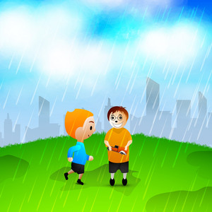 Happy Friendship Day Concept With Two Friends Enjoy Raining.