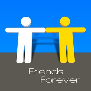 Happy Friendship Day Concept With Two Friends Joining Their Hands.