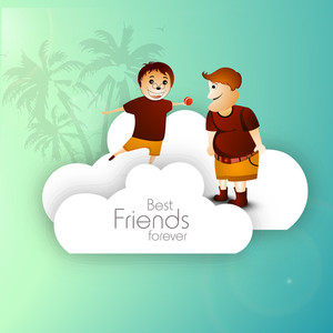 Happy Friendship Day Concept With Two Friends On Green Background.